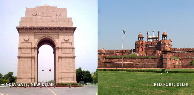 India Gate & Red Fort  with Caption