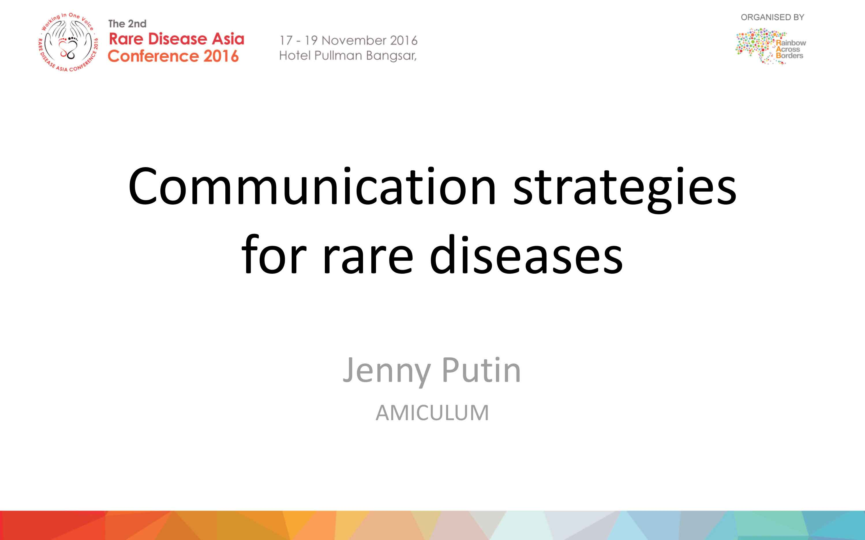 Jenny Putin (AMICULUM) - Communication Strategies for Rare Diseases