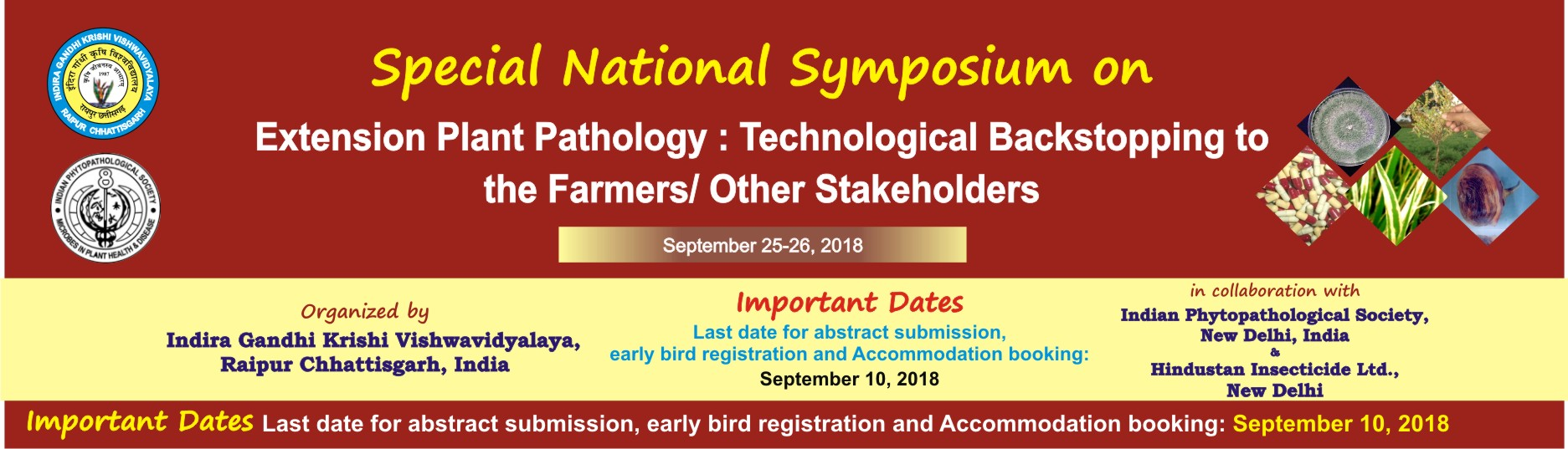 Special Symposium  at IGKV, Raipur, Sept. 25-26, 2018