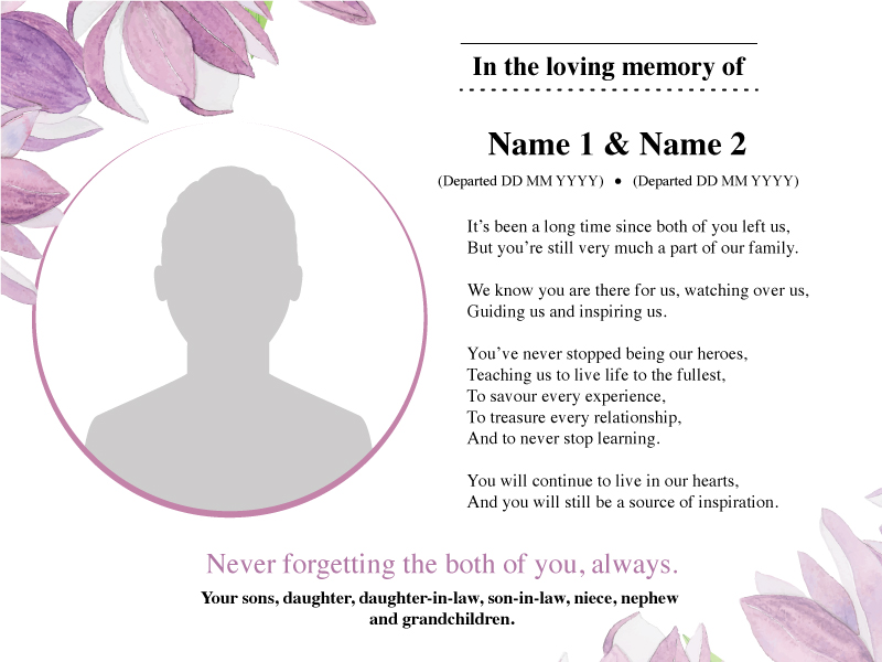 Free Memoriam Message Samples Best Advertising Agency In Kuala Amazing In Memoriam Of A Loved One