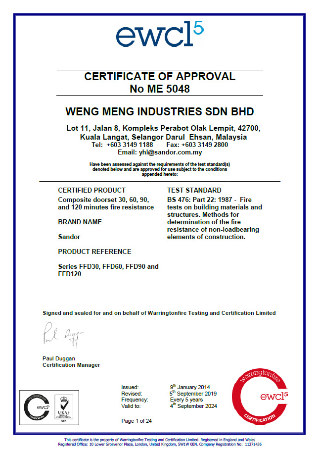 Fire Door Certification by Exova Warringtonfire (British Standard)