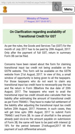 Clarification regarding availability of Transitional Credit for GST-  GST deadline to file returns extended by CBEC to 28th August, 2017